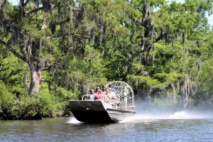 small airboat riding swamp